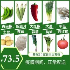 亲斤朝 套餐三尖椒1斤平菇1小葱1蒜苗1莲藕1金针菇1香菜1土豆5莴笋1小瓜1豌豆尖1 500g
